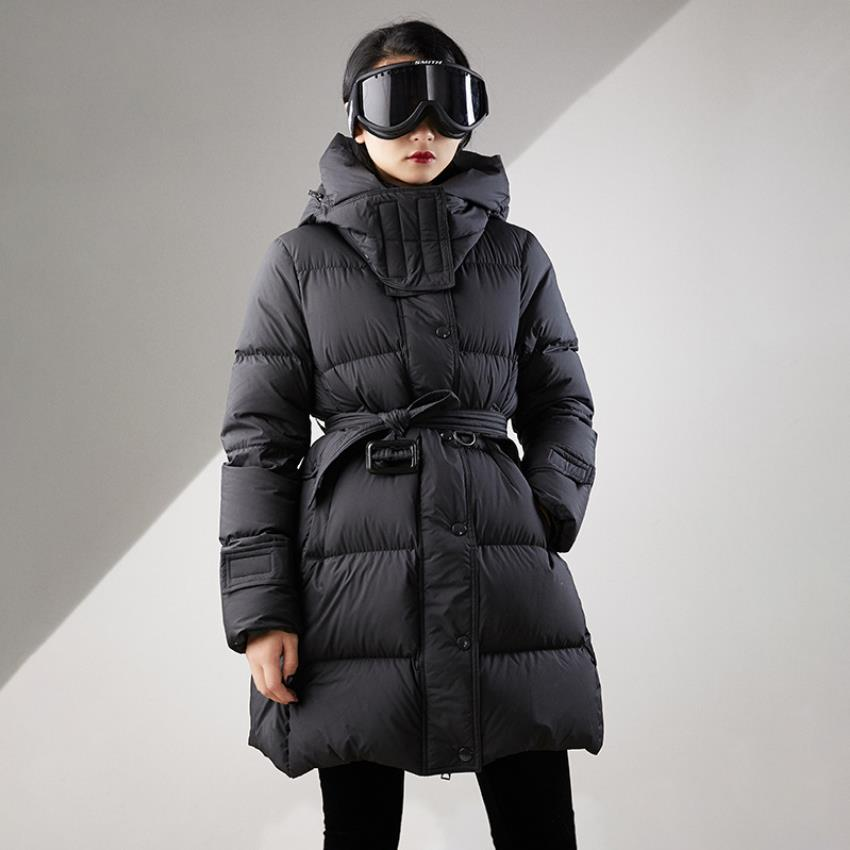 Winter double-layer collar style hooded   down   jacket female thicker warm jacket fluffy duck   down     coat   with belt for cold F216