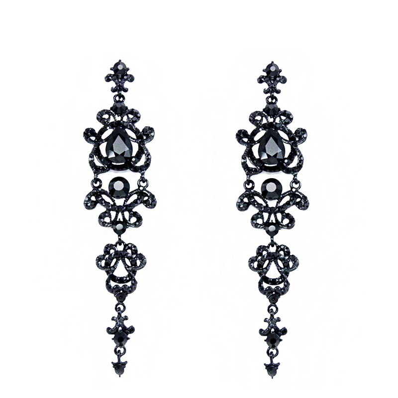OCESRIO Luxury Gothic Black Champagne Chandelier Long Earrings for Women Crystal Drop Earrings Hanging Wedding Jewelry ers-h34