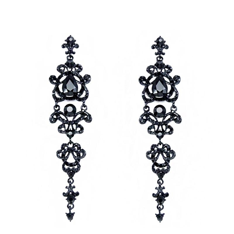 OCESRIO Luxury Gothic Black Champagne Chandelier Long Earrings for Women Crystal Drop Earrings Hanging Wedding Jewelry ers-h34
