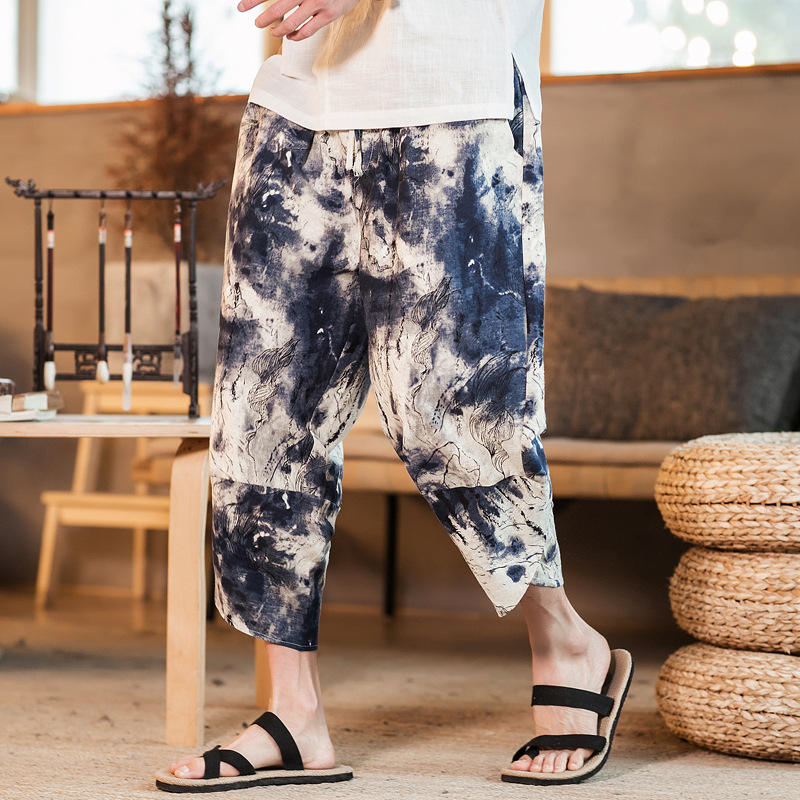 2019 Summer New Products Thin Men Cotton Linen Chinese-style Flax Vintage Printed Capri Harem Wide-Leg Baggy Pants