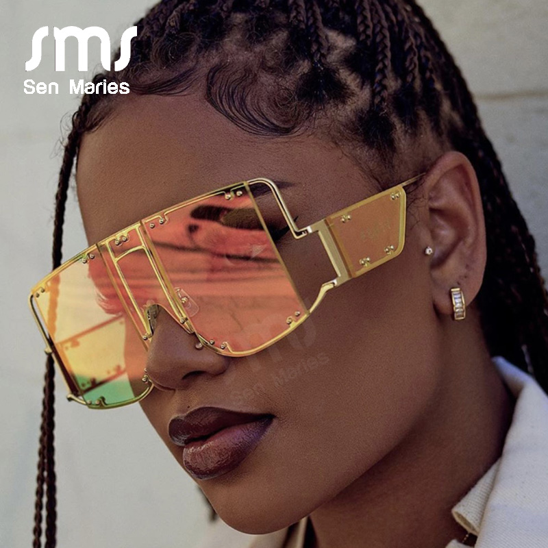 Fashion Square Sunglasses Women New Oversized Mirror Men Shades Glasses Luxury Brand Metal Rivet Trend Unique Female Eyewear 1