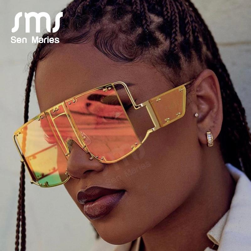 Fashion Square Sunglasses Women New Oversized Mirror Men Shades Glasses Luxury Brand Metal Rivet Trend Unique Female Eyewear rihanna fenty sunglasses