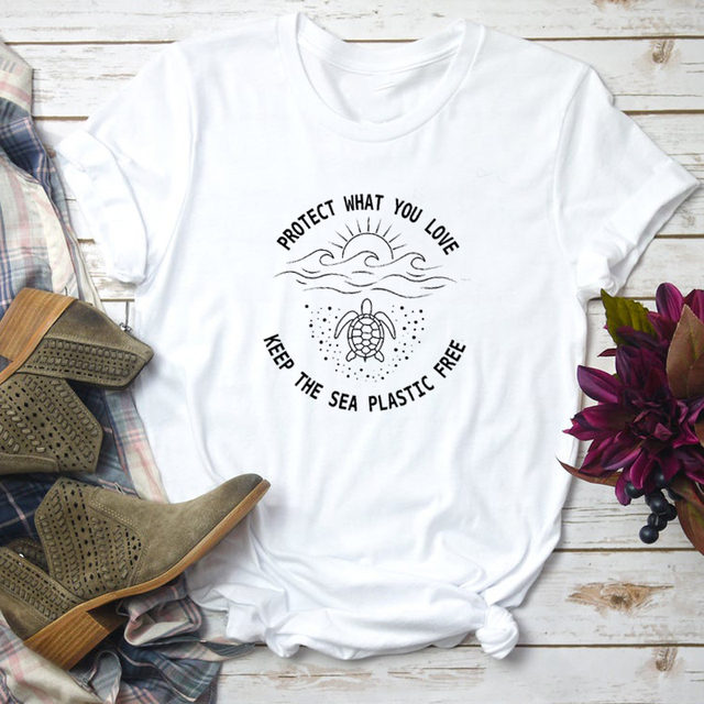 Protect What You Love Keep The Sea Plastic Free Slogan T Shirt Women Save A Turtle Graphic Tees Cotton Summer Tops Dropshipping