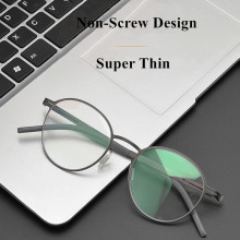Germany Brand Designer Glasses Men Super Thin Medical Aviation Stainless Steel Retro Round Eyeglasses Women Spectacle Frame TONA