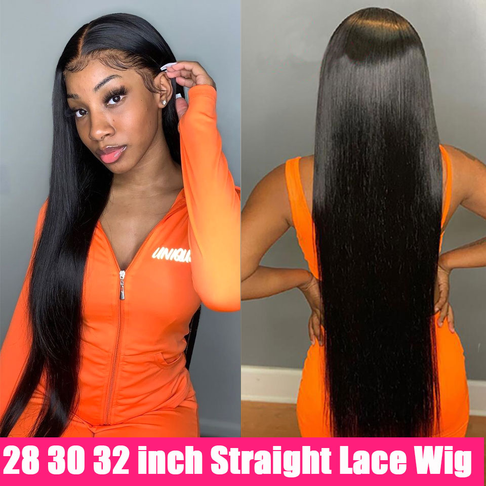 Парик Из прямых человеческих волос на сетке, прозрачные передние парики на сетке, 30 дюймов, Длинные T-образные волосы без повреждений, прямые...