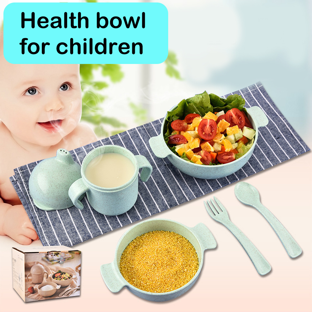 Baby Wheat Straw Rice Bowl Baby Food Supplement Tray Set For Kid Dishes Eco-Friendly Children Training Dinnerware