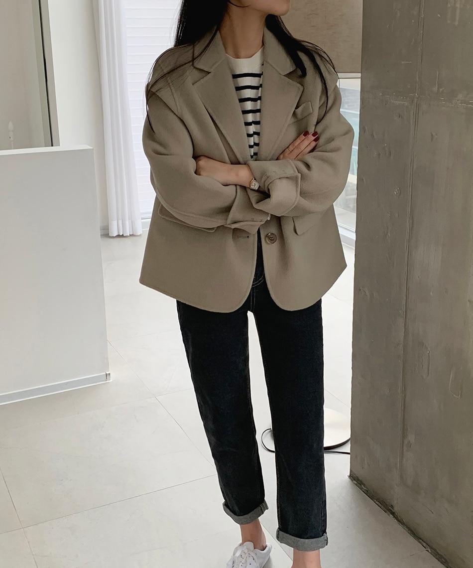 H8afbbb20519b4e8bafb02267bf15632fA - Winter Korean Revers Collar Solid Woolen Short Coat