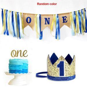 Детский комплект на 1 день рождения, декоративная Растяжка, цветной высокий стул с шапкой, сделай сам, счастливый мешковатый торт, разбивающ...