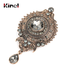 Kinel Bohemia Gray Crystal Flower Brooch Pins Metal Scarf Clothing Christmas Gift Banquet Vintage Wedding Accessories 219 New