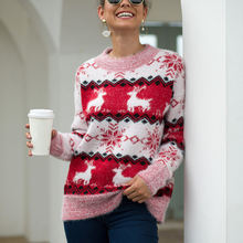Осенне зимний Рождественский свитер с круглым вырезом и длинным