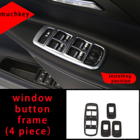 Moldura de marco de botón de ventana para Jaguar Xel fibra de carbono 4 Uds