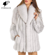 Real Blue Fox Fur Coats Womens New Whole Skin Natural Thick Warm High Quality Outerwear Clothing Customized