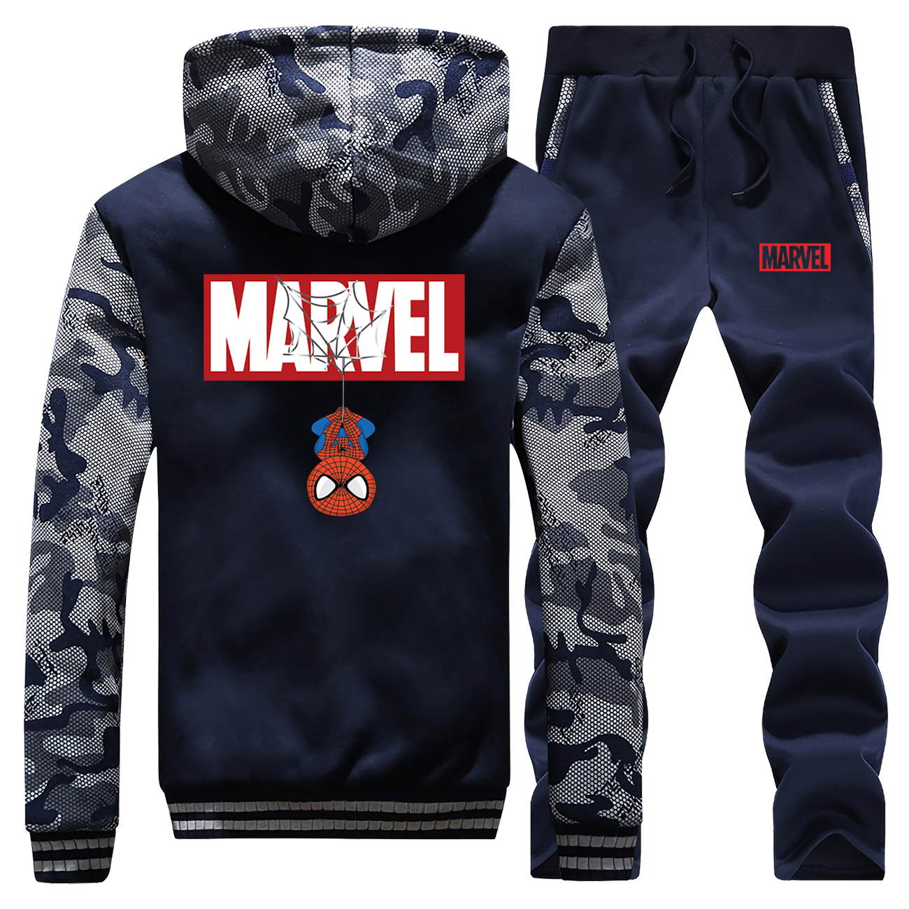 Marvel Funny Spiderman Hot Sale Winter Coat Thick Camouflage Mens Hoodie Casual Jackets Suit Sportswear + Pants 2 Piece Set