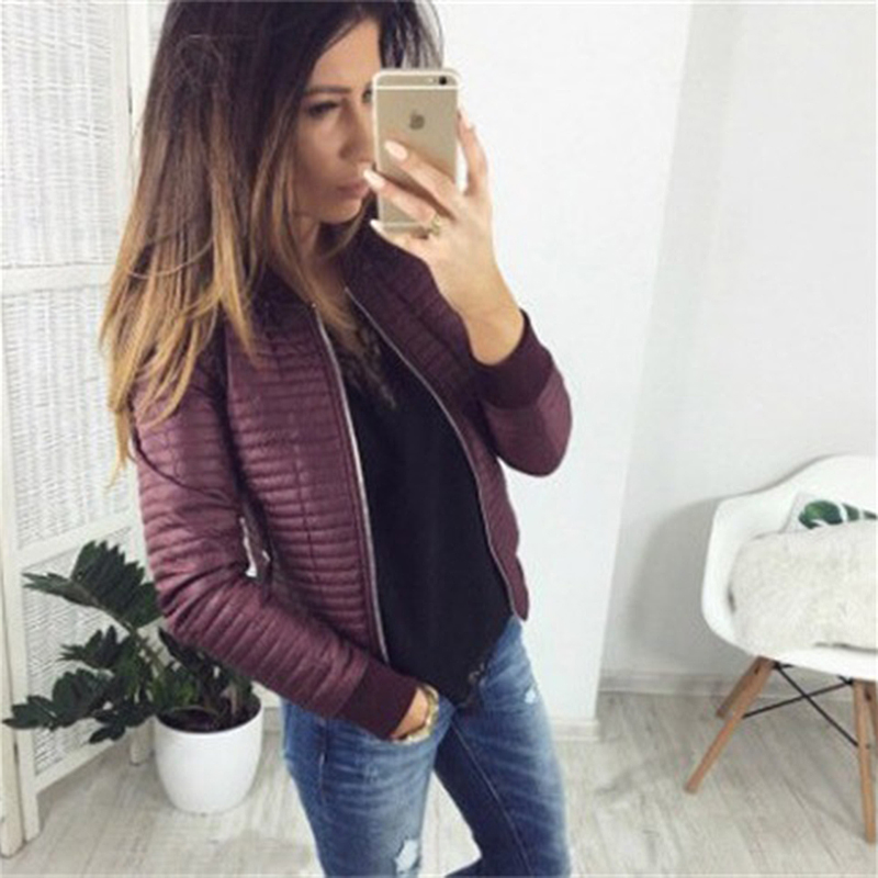 Bomber women short   jacket   2019 casual cotton autumn coat women warm spring black ladies   basic     jacket   clothes outerwear CDR649