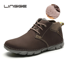 LINGGE Winter Fashion Genuine Leather Men Boots Brand Ankle Casual Moccasin Warm Fur Cowboy
