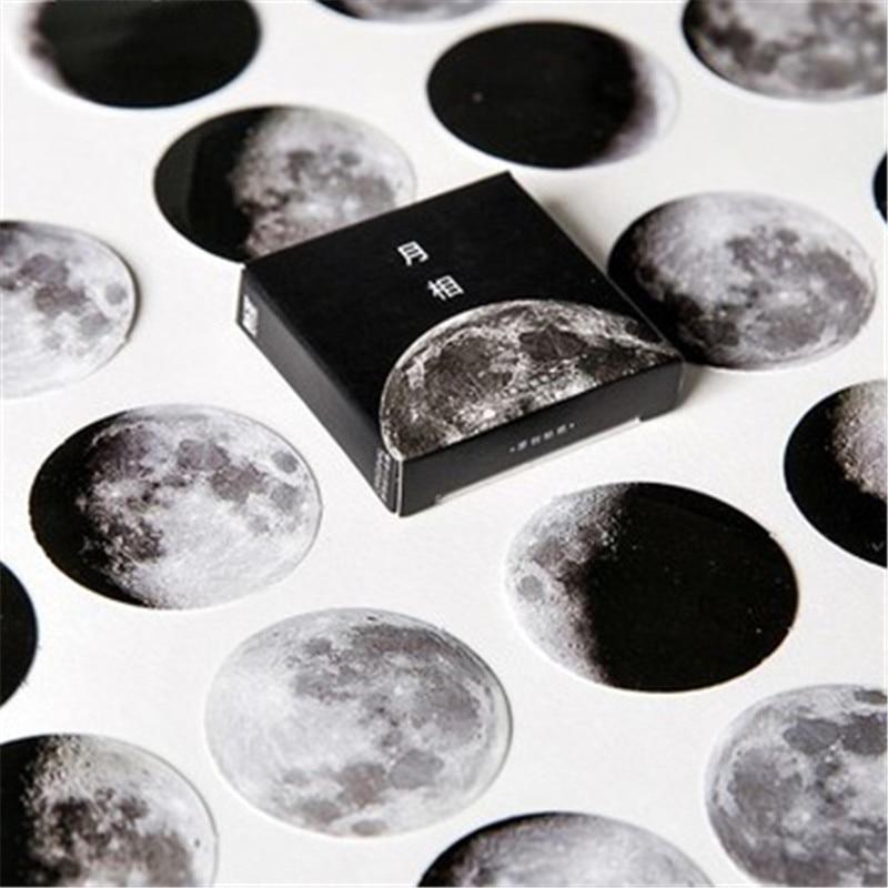 45pcs/Pack Cartoon Black White Moon Sticker Children Toys Anime Gift For DIY Book Laptop Mobile Phone Skateboard Kids Stickers