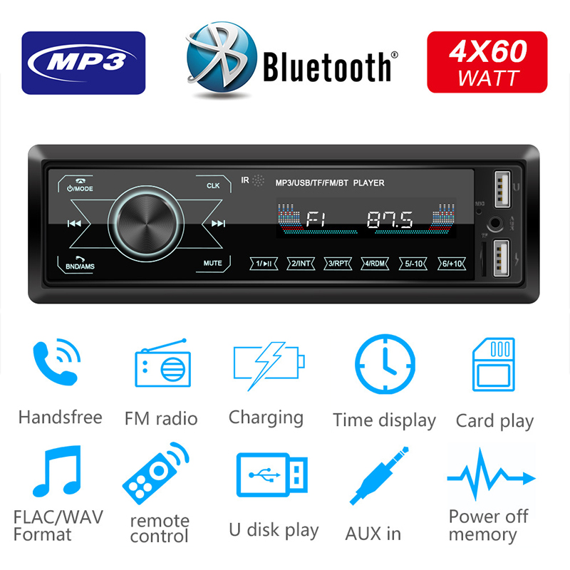 Car Stereo Radio 1 Din Full Touch Screen Bluetooth Hands-Free FM Receiver MP3 Player Support Steering Wheel Control AUX/USB
