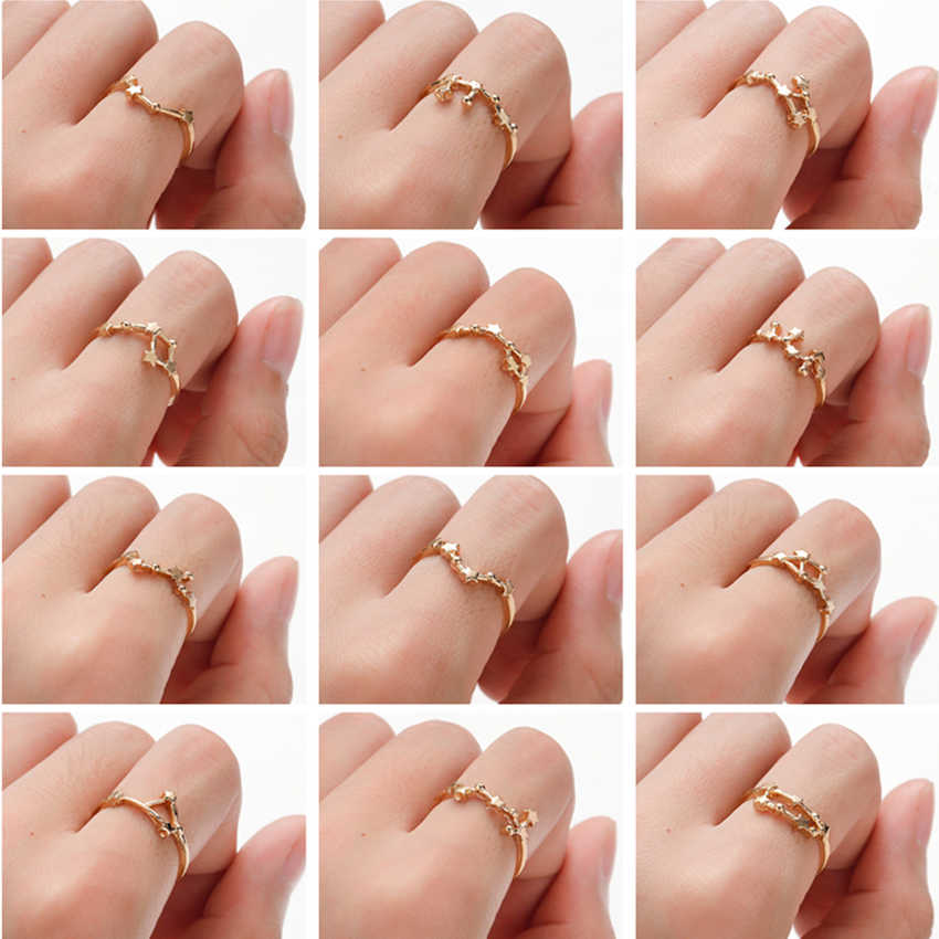 Cxwind Constellation Rings Libra Gemini Taurus Cancer Aries Ring Lady Wedding Engagement Women Fashion Birthday Jewelry anillos