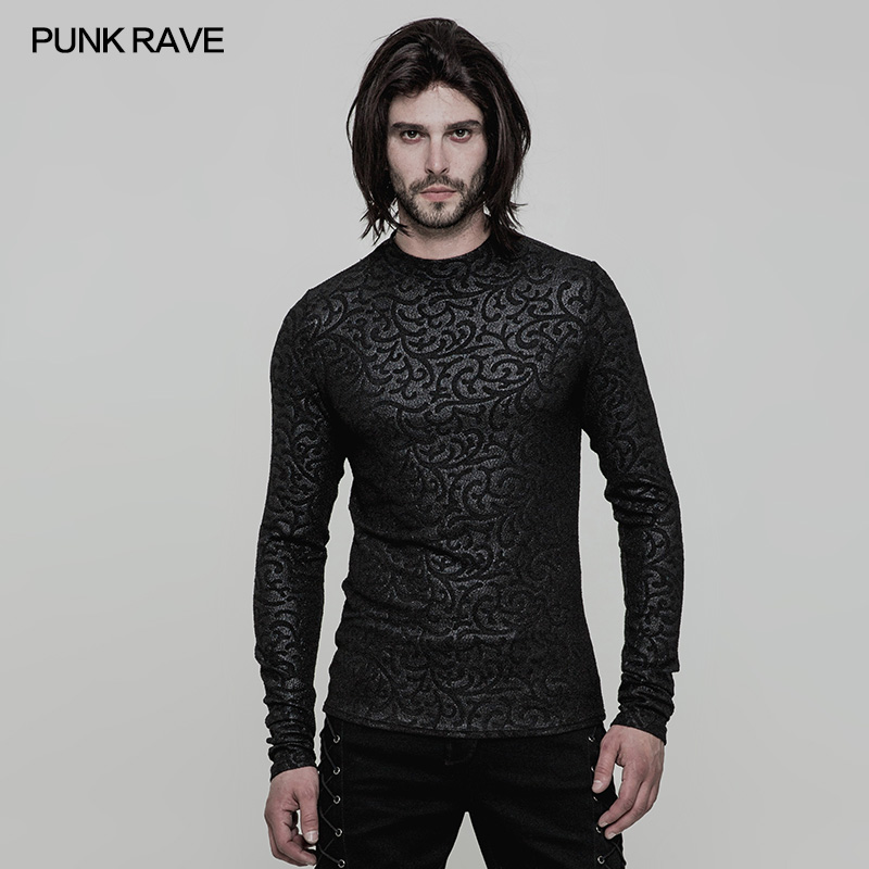 Punk Rave Men's Gothic Pumk Rock Cool T-shirt Personality Vintage Printing Casual Slim Fit Long Sleeve T-shirt