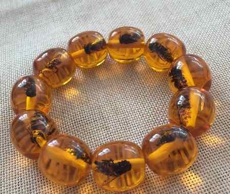 Yy809>>>> Lilin Lebah Alam Damar Amber Gelang Fashion All-Match Serangga Amber Manik Manik Beedrum Tali Tangan Pria dan Wanita