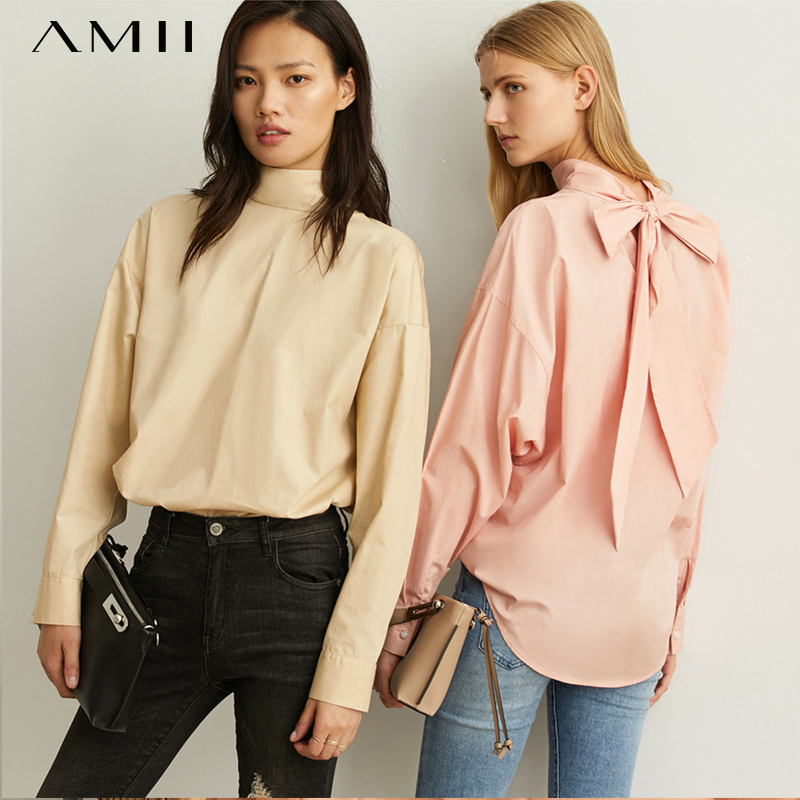 Amii Spring Fashion Heart Machine Girl Shirt New Loose High-collar All-cotton Belt Sleeve Blouse Top 11940350