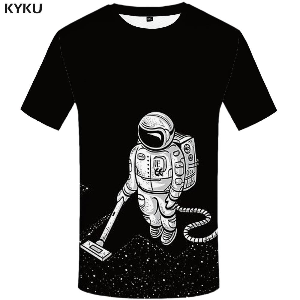 KYKU Alien T-shirt Men Galaxy Shirt Print Black Anime Clothes Harajuku Funny T Shirts Gothic Tshirt Printed Mens Clothing