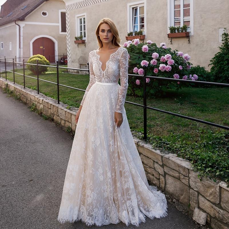 Verngo A-line Wedding Dress Boho 2020 Lace Tulle Wedding Gowns Long Sleeves Elegant Bride Dress Vestido De Noiva Sereia