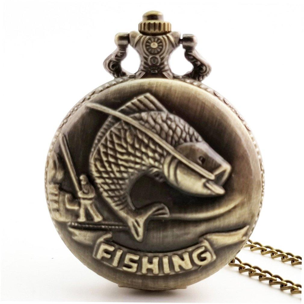 Goldfish Carved Vintage Antique Round Dial Quartz Steampunk Pocket Watch Necklace Pendant Clock For Mens Womens