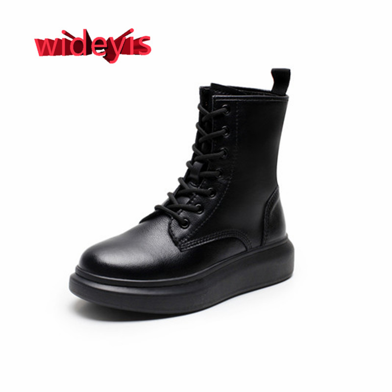 Shoes woman WIDEYIS full leather Martin boots thick temperament fashion models simple versatile lace-up round head women's boots