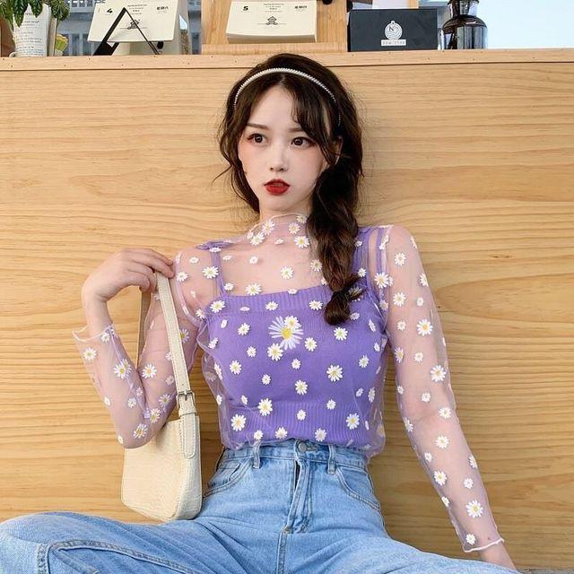 Ruoru New Summer Daisy Flower Print Mesh T Shirt Women Korean Long Sleeve Fishnet T Shirt Tops Kawaii Clothes Female Mesh Top 5