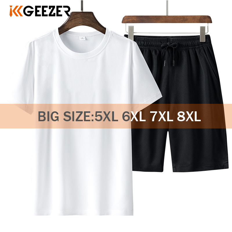 T Shirt Set Men Shorts 6XL 7XL 8XL Sportswear Quick Drying Black White T-shirts Summer Sports Running Fitness Breathable Tshirt