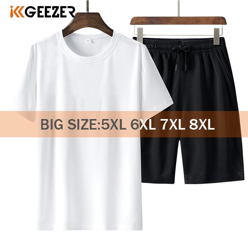 T Shirt Set Men Shorts 6XL 7XL 8XL Sportswear Quick Drying Black White T-shirts Summer Sports Running Fitness Breathable Tshirt