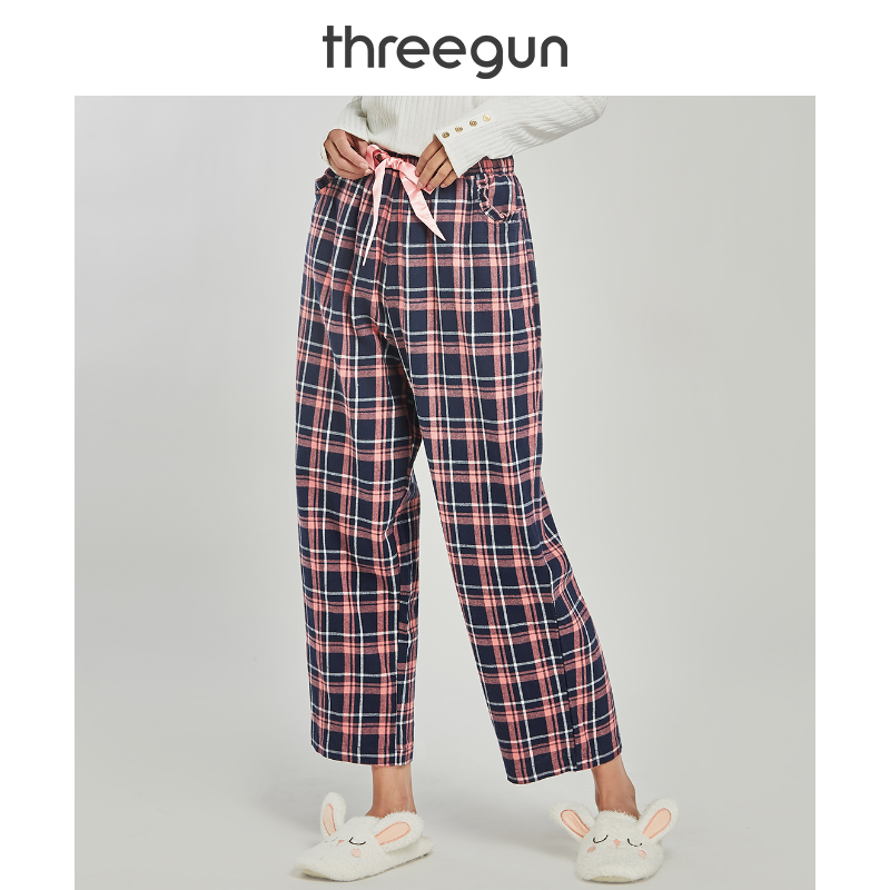 THREEGUN Women 2019 Autumn New Loose Lounge Bottoms Plaid Sleep Pants Gingham Pajama Checks Home Pants Fashion Pijama Trousers