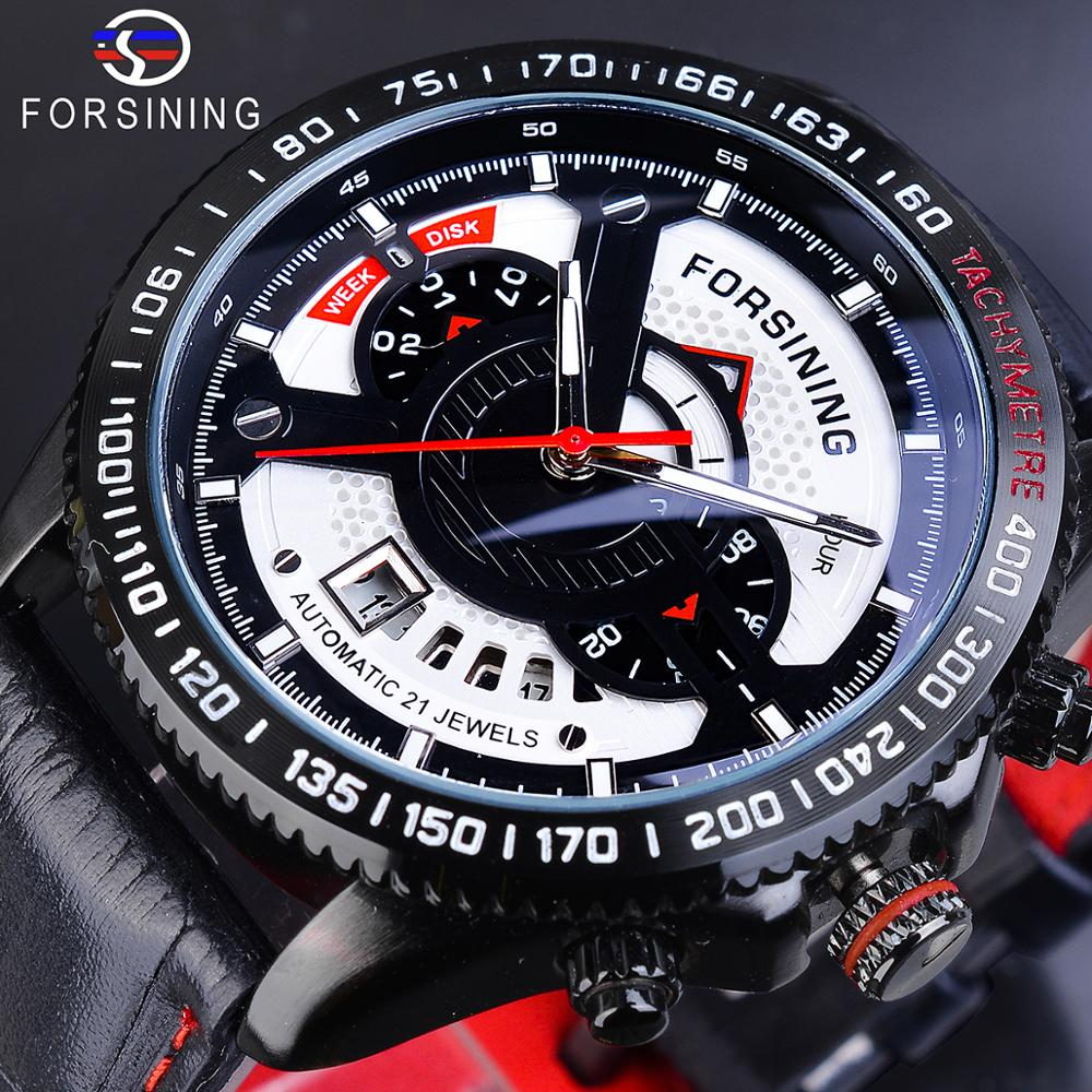 Forsining Sprot Racing Design Black Leather Belt Calendar Hour Mens Automatic Mechanical Wirst Watch Top Brand Luxury Male Clock