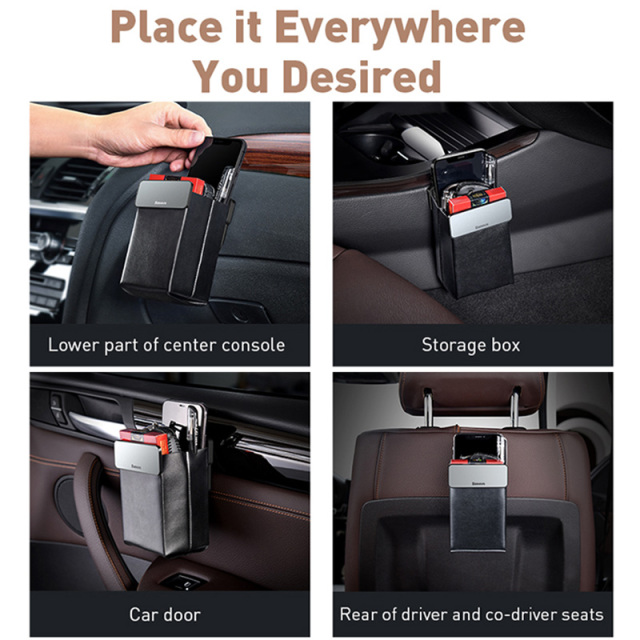 Baseus Magnetic Car Organizer Leather Car Storage Auto Pouch Bag Box Pocket Holder For Phone Card Backseat Seat Car Accessories 5