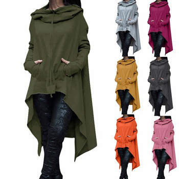 Women Hoodies Autumn 2020 Irregular Solid Color Fashion Oversize Sweatshirt Loose Hooded Pullover Long Sleeve Long Outwear Hoody women solid color plush hooded sweatshirt autumn winter long sleeve loose warm hoodies coat pockets casual fashion outwear tops