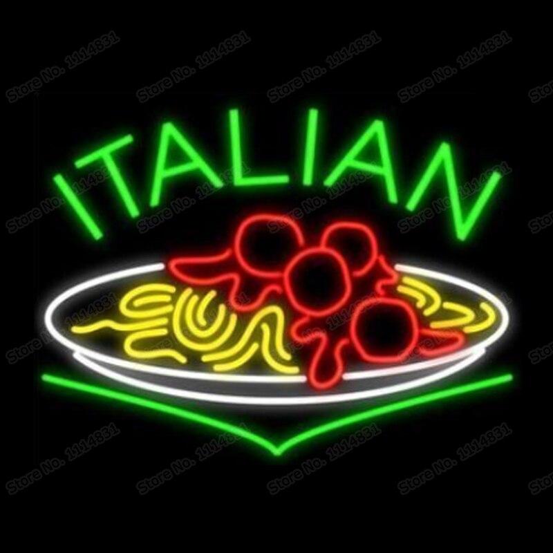 Nouilles alimentaires italiennes pâtes Spaghetti enseigne au néon à la main véritable Tube de verre magasin Restaurant décoration affichage enseignes au néon 24