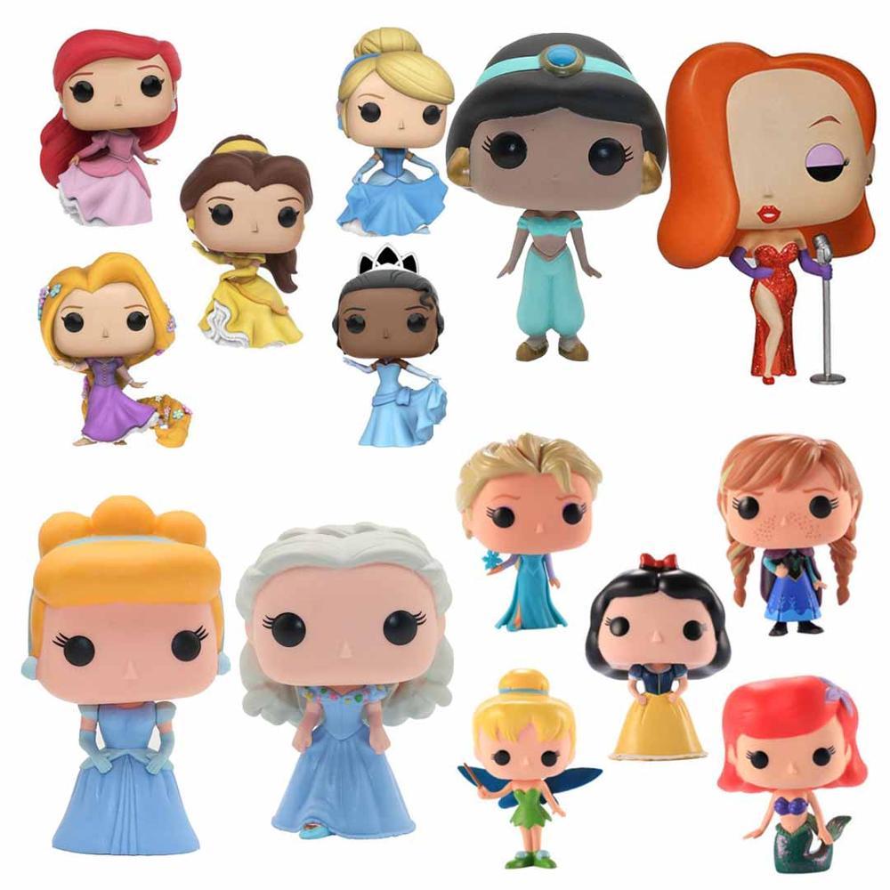 Funko Pop Prinzessin Schnee Weiß Elsa Glocke Alice Jessica Jasmin Action-figuren PVC Modell Sammlung Spielzeug für Mädchen Weihnachten Geschenk