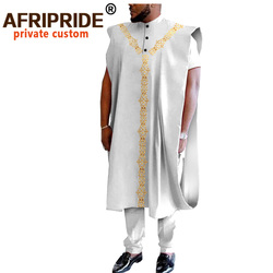 African Traditional Clothing for Men Dashiki Coats Short Sleeve Short Shirts and Ankara Pants 3 Piece Suit Agbada Robe A2016031