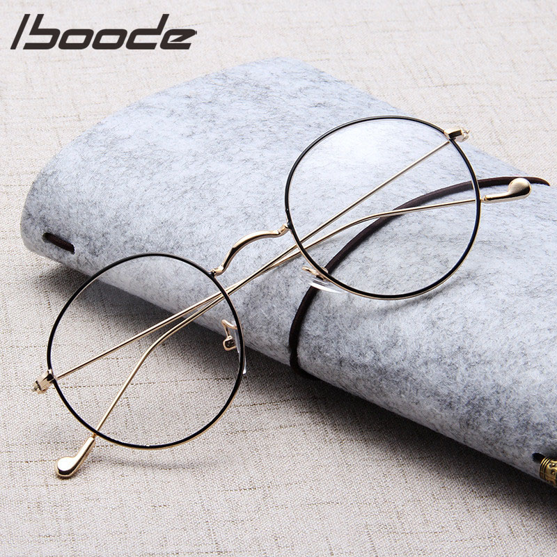 IBOODE Unisex Reading Glasses Fashion Classic Gold Round Metal Frame Glasses Women Men Classical Vintage Style Optical Glasses