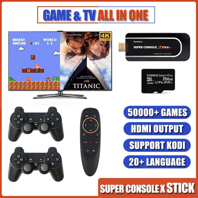 Super console x vara emulador de console de jogos de vídeo embutido 50000 + saída hdmi duplo controlador player 64 bit console retro