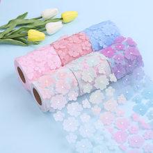 10Yards/rouleau 8CM dégradé coloré fleur Tulle rouleau Organza ruban fournitures de fête bricolage cheveux arcs matériaux faits à la main Y2021010805