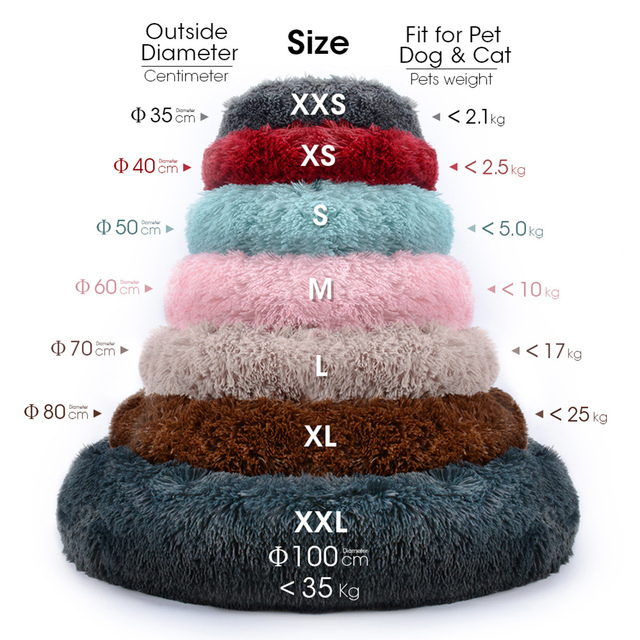 Cat Bed House Round Long Plush Super Soft Pet Dog Bed Winter Warm Sleeping Bag Puppy For Large Dogs Nest Products Cat Mat 3