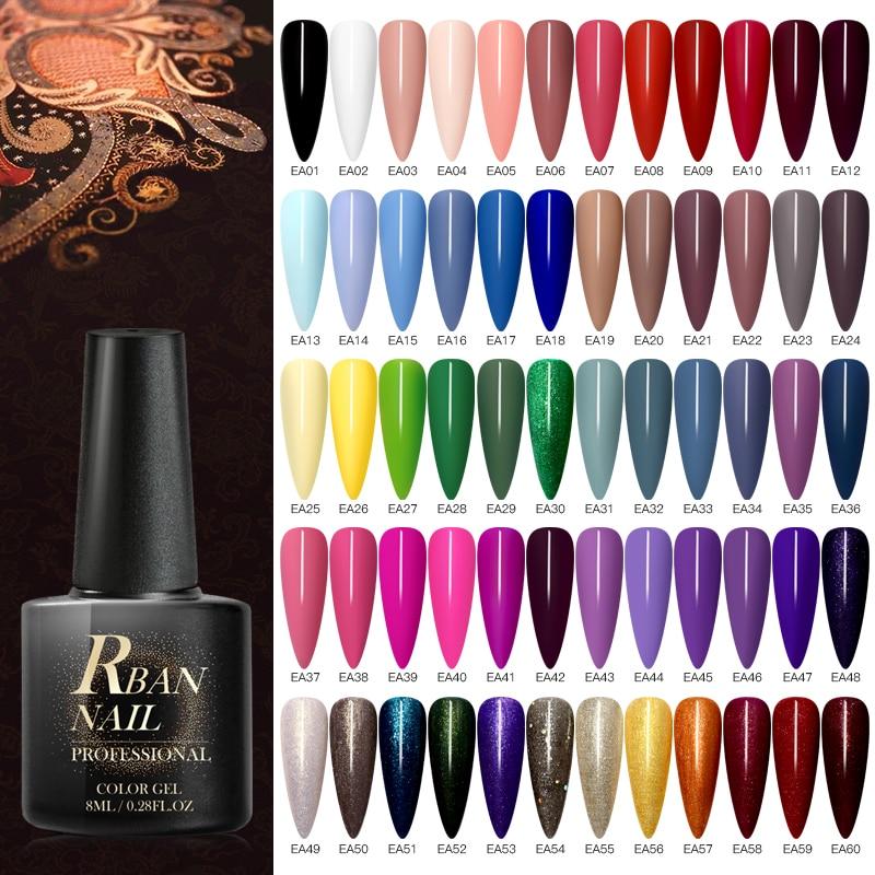 RBAN NAIL 8ML Color UV Gel Nail Polish Matt Top Coat Hybrid Nails Gel Soak Off Long Lasting Nail Art Gel Varnish Lacquer Tools