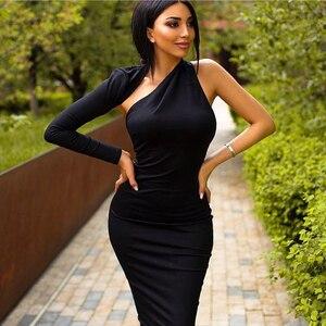 Image 5 - 2020 가을 새로운 여성 드레스 한 어깨 긴 소매 붕대 드레스 섹시한 Bodycon 복장 유명 인사 파티 블랙 레드 드레스 Vestidos