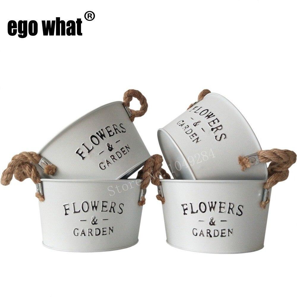 Pot Jardin Grande Taille €22.67 5% de réduction|d16xh9cm grande taille blanc pur fleur jardinière en  métal seaux à fleurs avec poignée fleur jardin plantes succulentes pot