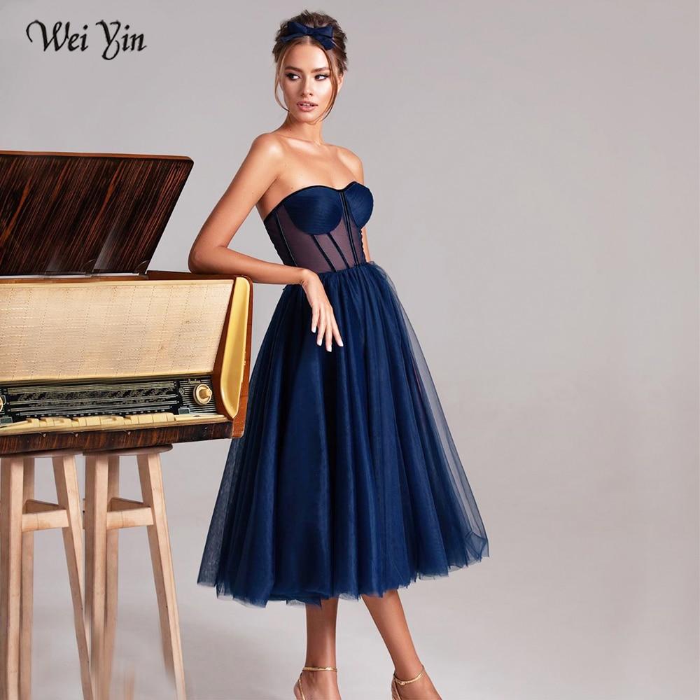 Weiyin Custom Color Short Prom Dress Strapless Sweetheart A Line Evening Dresses Elegant Illusion Bodice Tea Length Party Dress 1