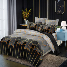 Nordic Minimalist Luxury Style Geometric Pattern Gilded Bedding Duvet Cover Super Double Plus Size, With Pillowcase