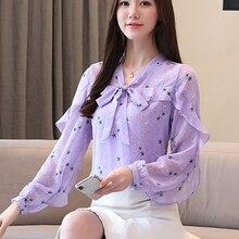 Chiffon Women Shirt Autumn 2019 Spring New Star Printed Long Sleeve Blouses Lotus Edge Bow collar 600A6