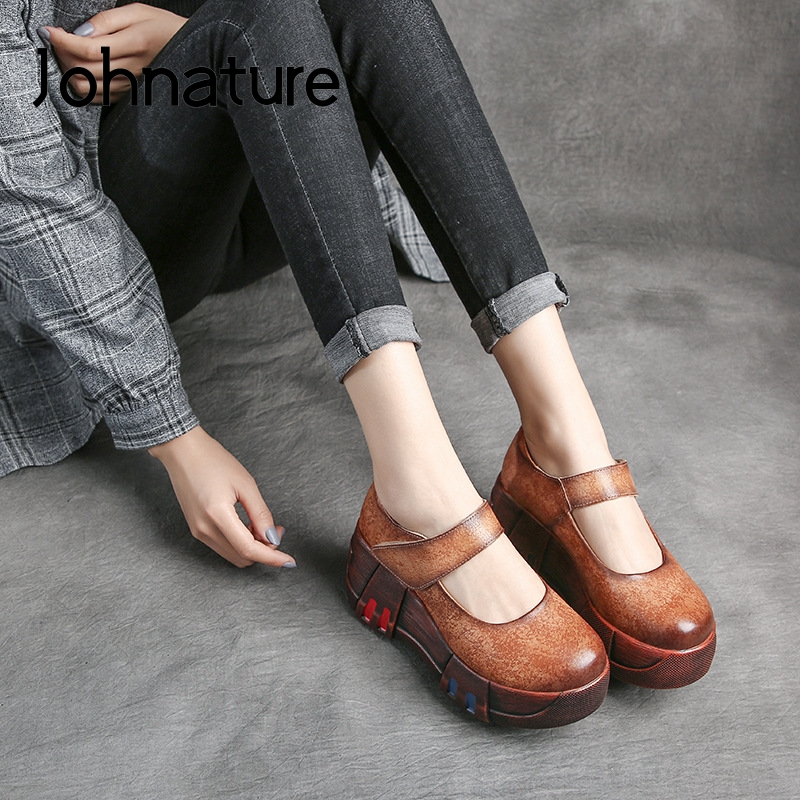 Johnature Pumps Women Shoes Retro Genuine Leather High Heels Round Toe Wedges 2020 New Spring Hook & Loop Platform Ladies Shoes